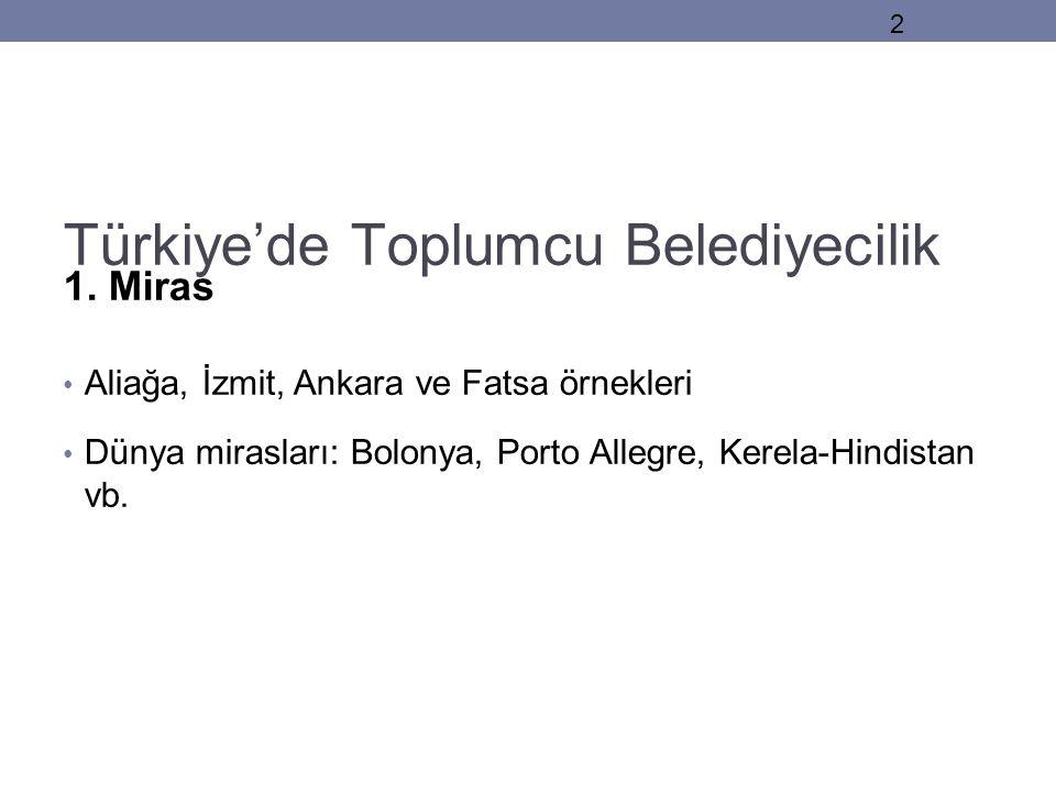 Türkiye'de Toplumcu Belediyecilik 1. Miras • Aliağa, İzmit, Ankara ve Fatsa örnekleri • Dünya mirasları: Bolonya, Porto Allegre, Kerela-Hindistan vb.