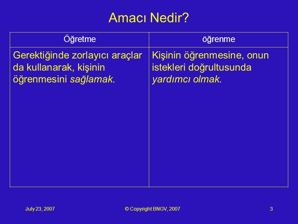 July 23, 2007© Copyright BNGV, 20073 Amacı Nedir.