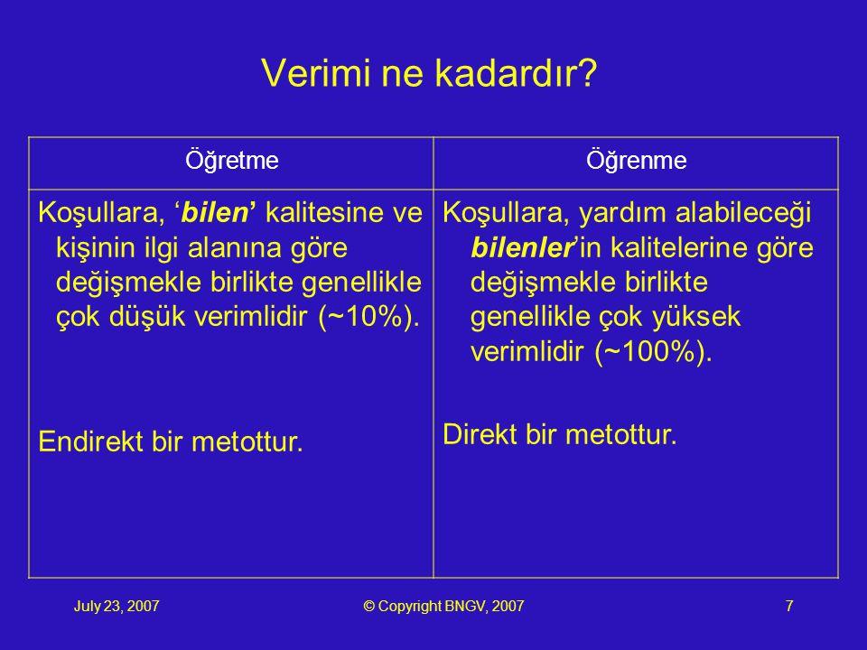 July 23, 2007© Copyright BNGV, 20078 Yüksek ifade becerisi.