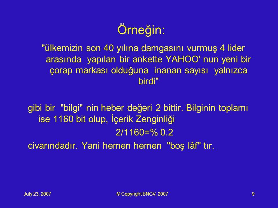 July 23, 2007© Copyright BNGV, 200710 Buna karşın: Ali Konuşkan ın telefonu (0212)212 3122dir bilgisi için ise bu oran yaklaşık %10 dur.