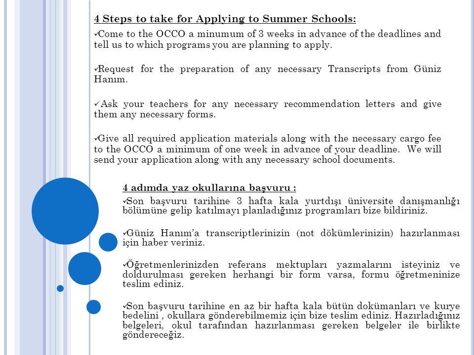 4 adımda yaz okullarına başvuru :  Son başvuru tarihine 3 hafta kala yurtdışı üniversite danışmanlığı bölümüne gelip katılmayı planladığınız programl