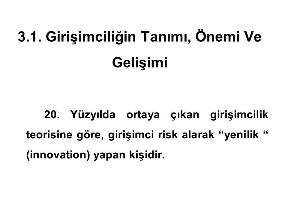 """3.1. Girişimciliğin Tanımı, Önemi Ve Gelişimi 20. Yüzyılda ortaya çıkan girişimcilik teorisine göre, girişimci risk alarak """"yenilik """" (innovation) yap"""