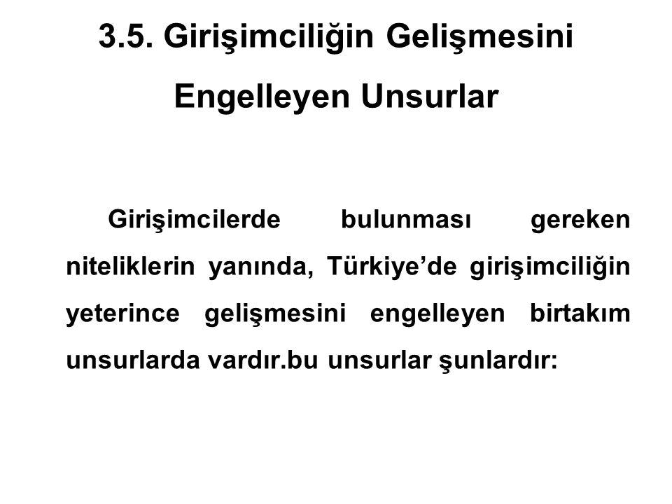 3.5. Girişimciliğin Gelişmesini Engelleyen Unsurlar Girişimcilerde bulunması gereken niteliklerin yanında, Türkiye'de girişimciliğin yeterince gelişme