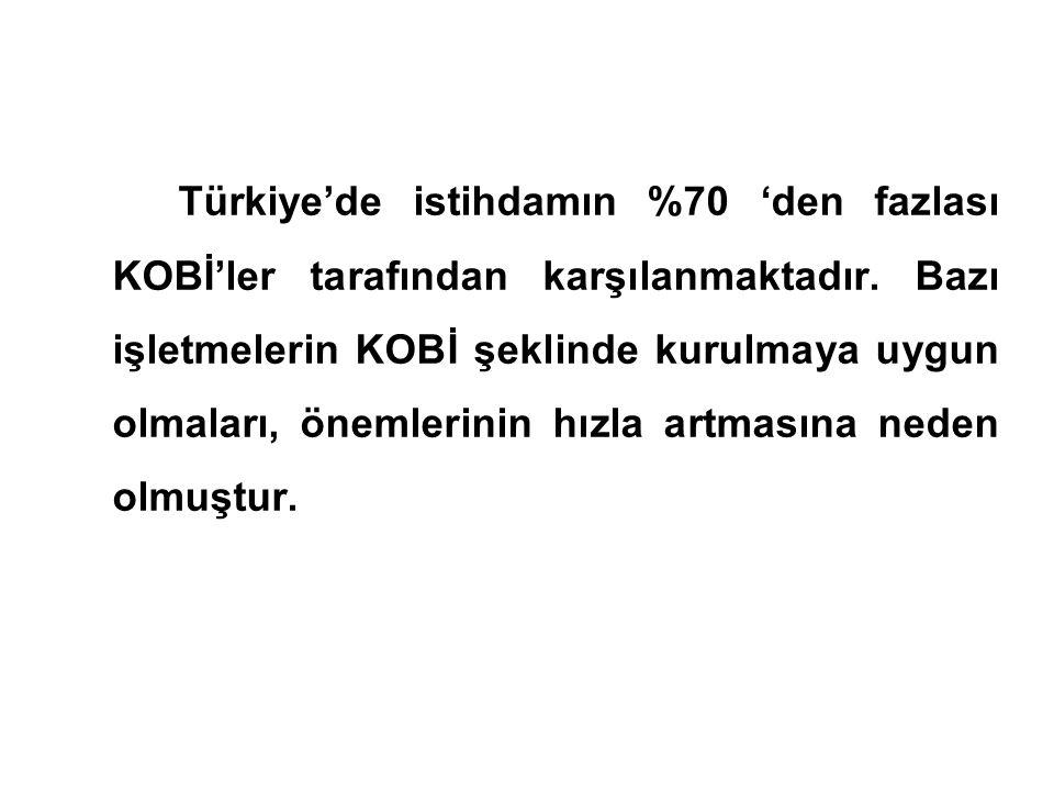 Türkiye'de istihdamın %70 'den fazlası KOBİ'ler tarafından karşılanmaktadır. Bazı işletmelerin KOBİ şeklinde kurulmaya uygun olmaları, önemlerinin hız