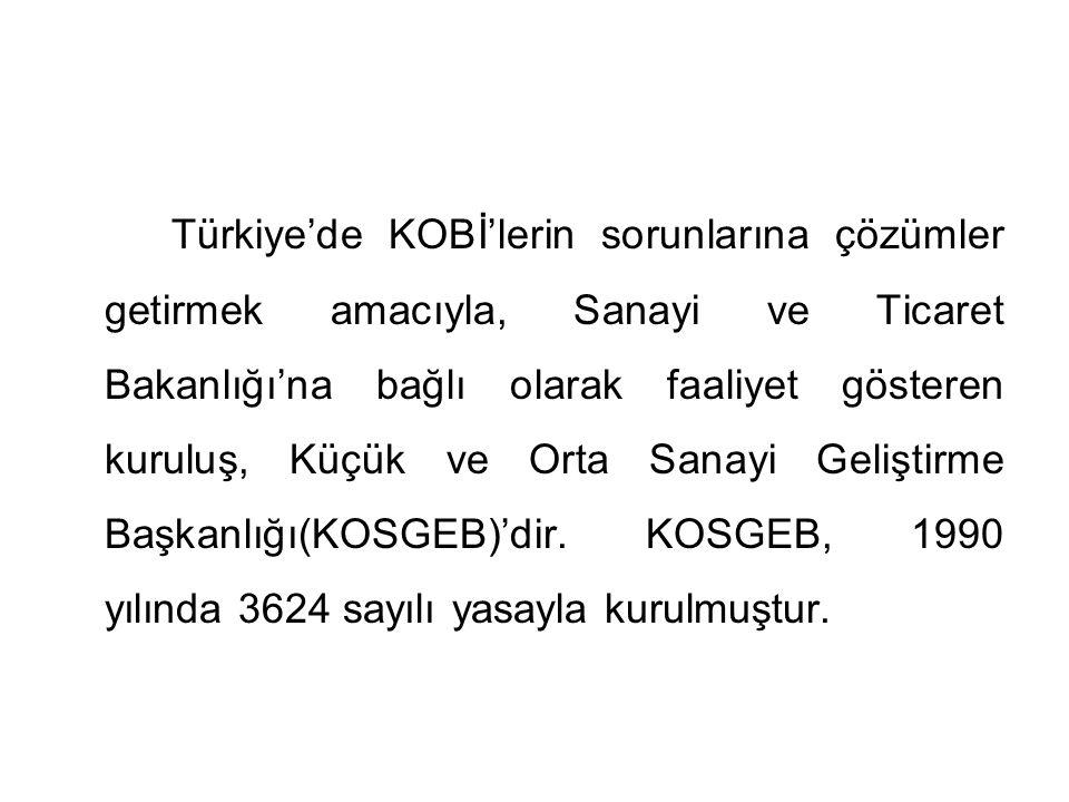 Türkiye'de KOBİ'lerin sorunlarına çözümler getirmek amacıyla, Sanayi ve Ticaret Bakanlığı'na bağlı olarak faaliyet gösteren kuruluş, Küçük ve Orta Sanayi Geliştirme Başkanlığı(KOSGEB)'dir.