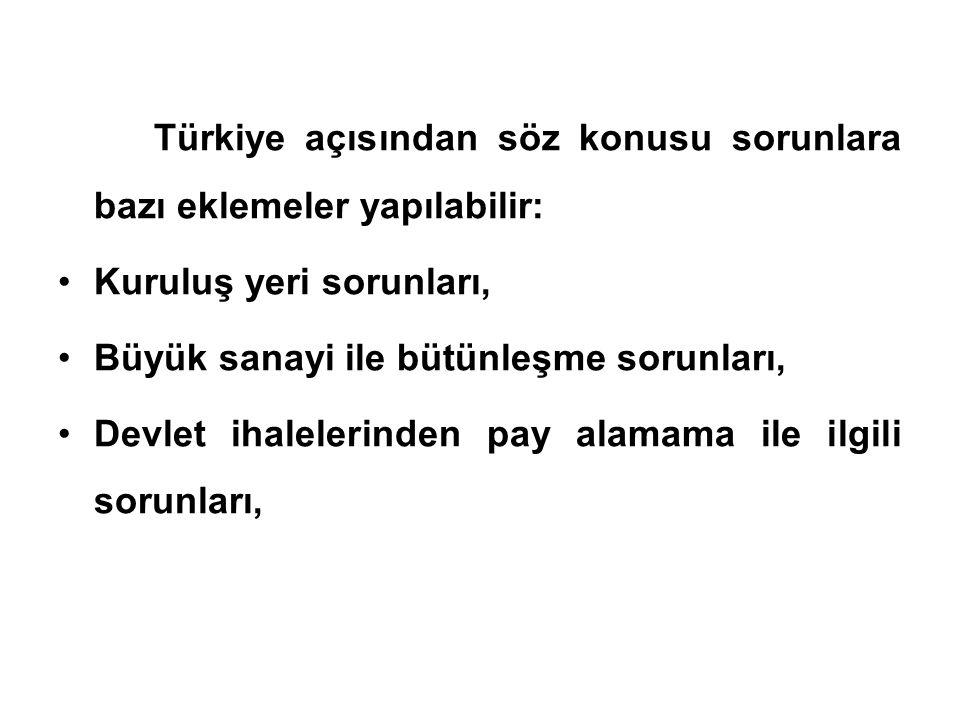 Türkiye açısından söz konusu sorunlara bazı eklemeler yapılabilir: •Kuruluş yeri sorunları, •Büyük sanayi ile bütünleşme sorunları, •Devlet ihalelerinden pay alamama ile ilgili sorunları,