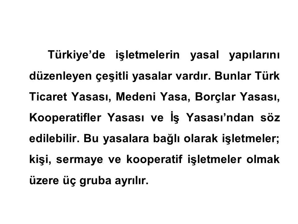 Türkiye'de işletmelerin yasal yapılarını düzenleyen çeşitli yasalar vardır. Bunlar Türk Ticaret Yasası, Medeni Yasa, Borçlar Yasası, Kooperatifler Yas