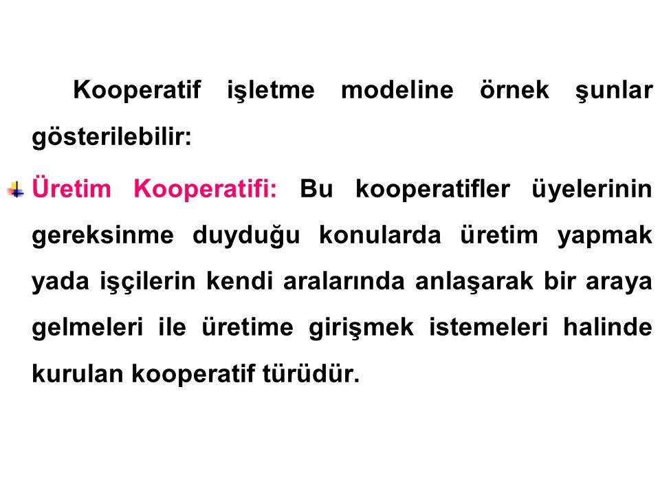 Kooperatif işletme modeline örnek şunlar gösterilebilir: Üretim Kooperatifi: Bu kooperatifler üyelerinin gereksinme duyduğu konularda üretim yapmak ya