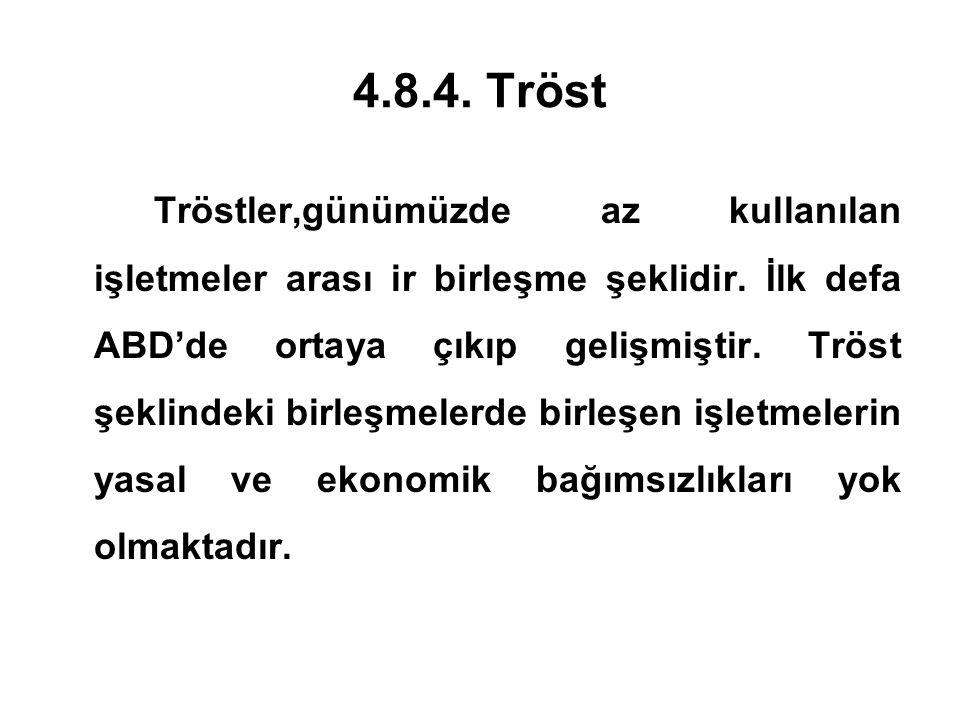 4.8.4. Tröst Tröstler,günümüzde az kullanılan işletmeler arası ir birleşme şeklidir. İlk defa ABD'de ortaya çıkıp gelişmiştir. Tröst şeklindeki birleş