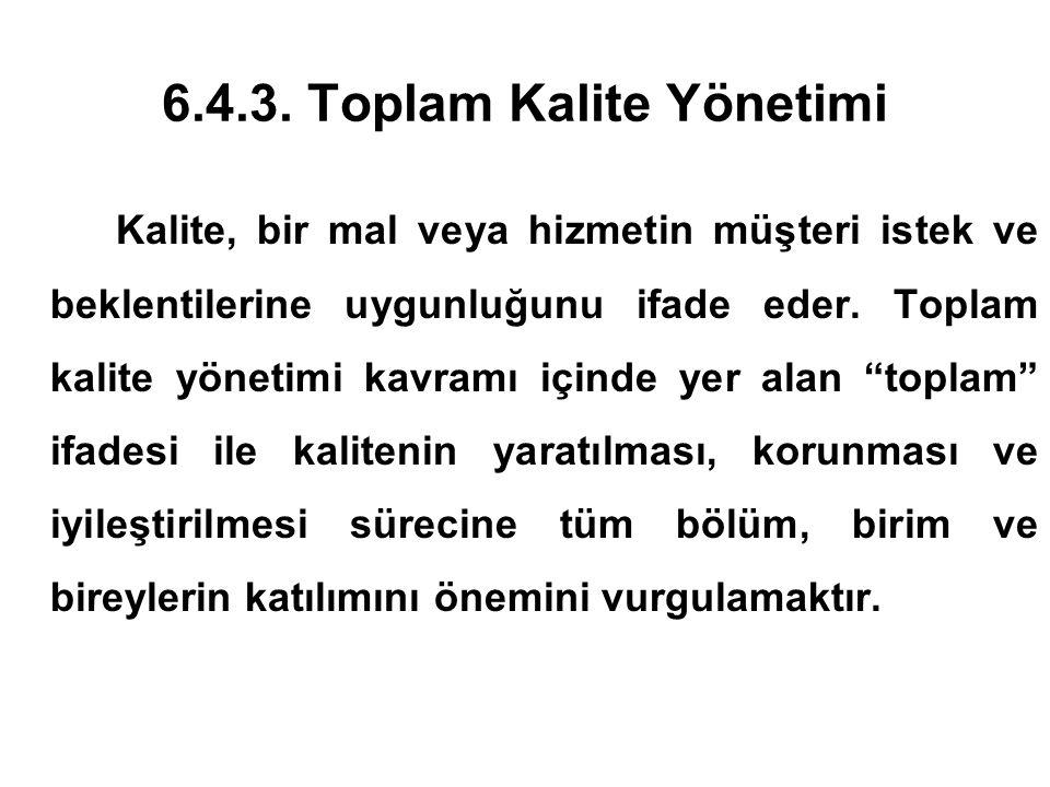 6.4.3. Toplam Kalite Yönetimi Kalite, bir mal veya hizmetin müşteri istek ve beklentilerine uygunluğunu ifade eder. Toplam kalite yönetimi kavramı içi