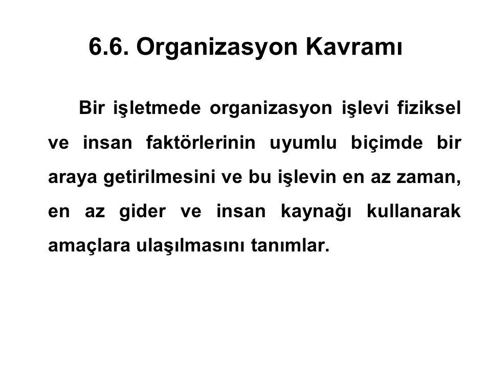 6.6. Organizasyon Kavramı Bir işletmede organizasyon işlevi fiziksel ve insan faktörlerinin uyumlu biçimde bir araya getirilmesini ve bu işlevin en az