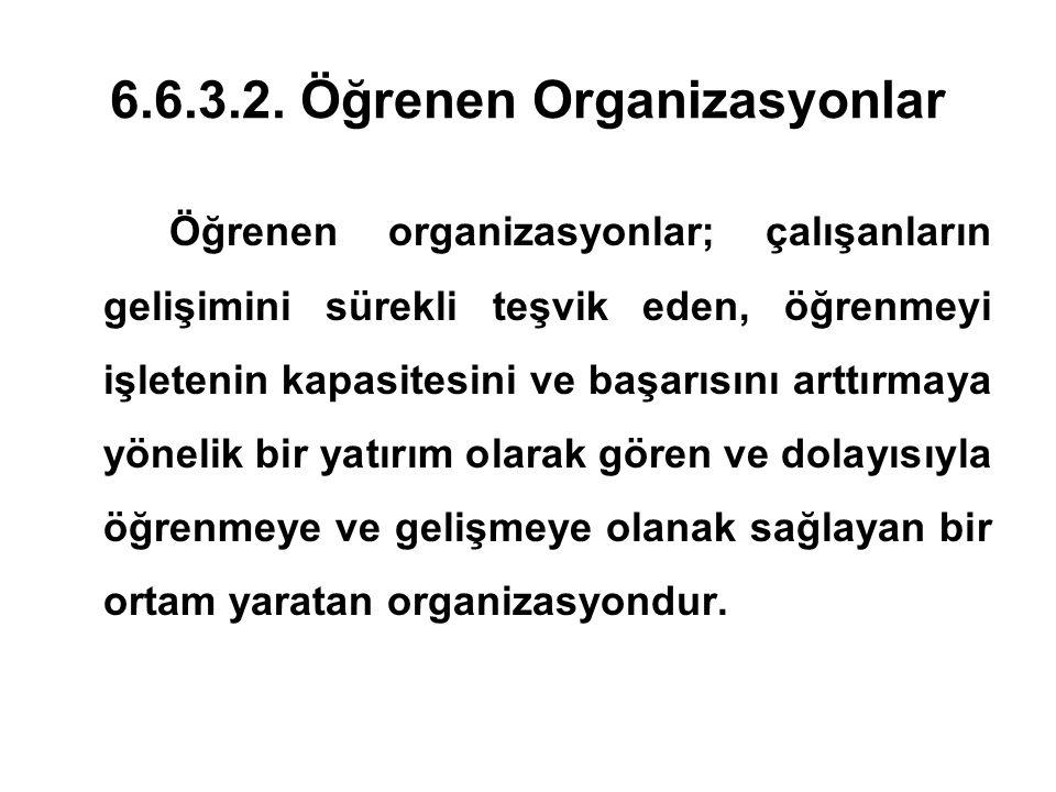 6.6.3.2. Öğrenen Organizasyonlar Öğrenen organizasyonlar; çalışanların gelişimini sürekli teşvik eden, öğrenmeyi işletenin kapasitesini ve başarısını