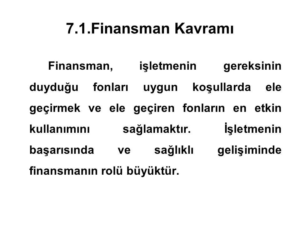 7.1.Finansman Kavramı Finansman, işletmenin gereksinin duyduğu fonları uygun koşullarda ele geçirmek ve ele geçiren fonların en etkin kullanımını sağl