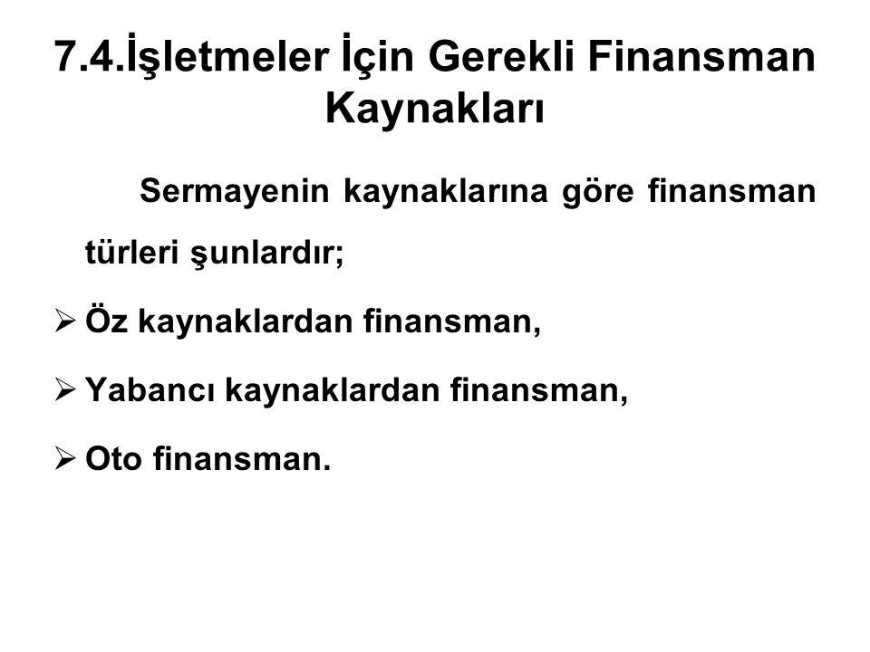7.4.İşletmeler İçin Gerekli Finansman Kaynakları Sermayenin kaynaklarına göre finansman türleri şunlardır;  Öz kaynaklardan finansman,  Yabancı kaynaklardan finansman,  Oto finansman.