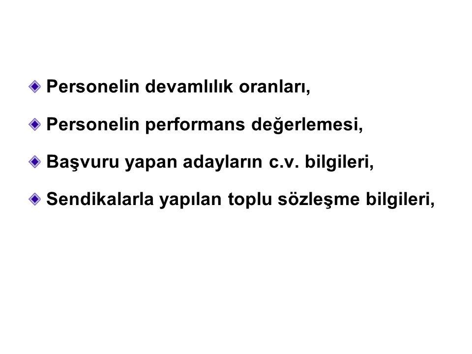Personelin devamlılık oranları, Personelin performans değerlemesi, Başvuru yapan adayların c.v.