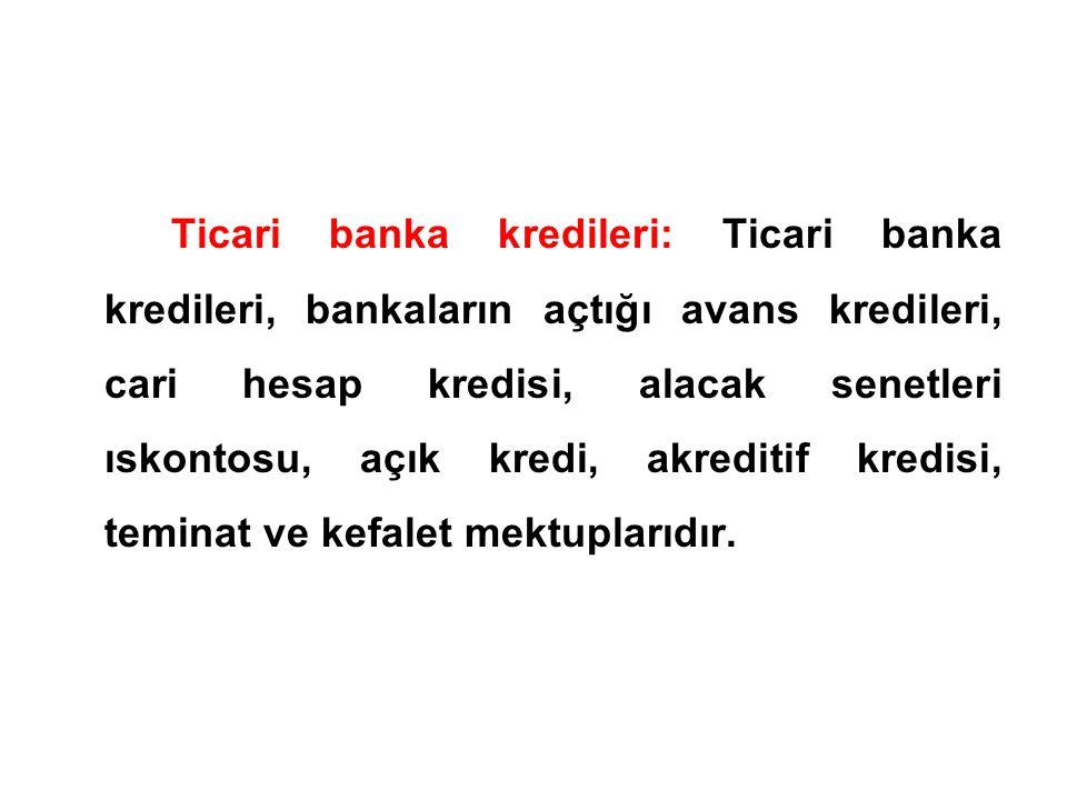 Ticari banka kredileri: Ticari banka kredileri, bankaların açtığı avans kredileri, cari hesap kredisi, alacak senetleri ıskontosu, açık kredi, akredit