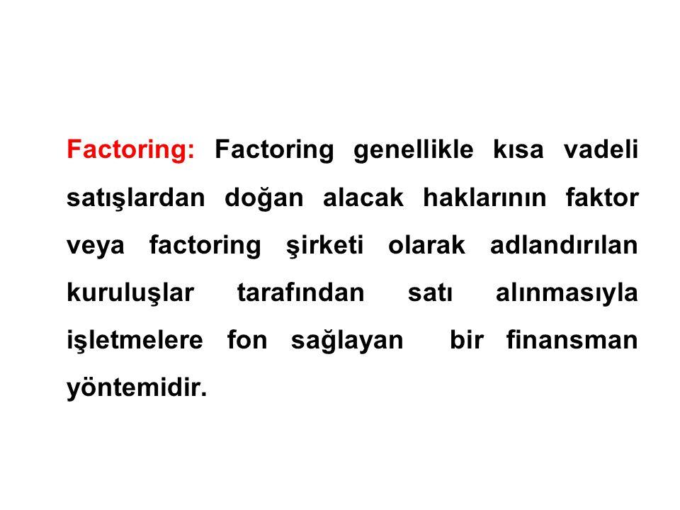 Factoring: Factoring genellikle kısa vadeli satışlardan doğan alacak haklarının faktor veya factoring şirketi olarak adlandırılan kuruluşlar tarafında