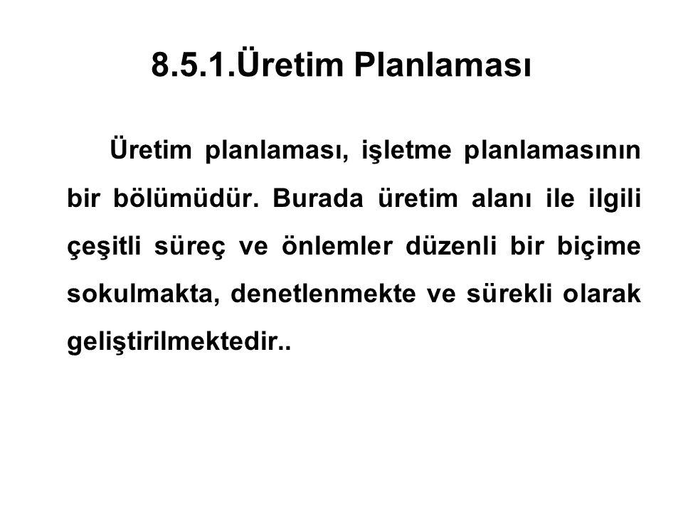 8.5.1.Üretim Planlaması Üretim planlaması, işletme planlamasının bir bölümüdür. Burada üretim alanı ile ilgili çeşitli süreç ve önlemler düzenli bir b