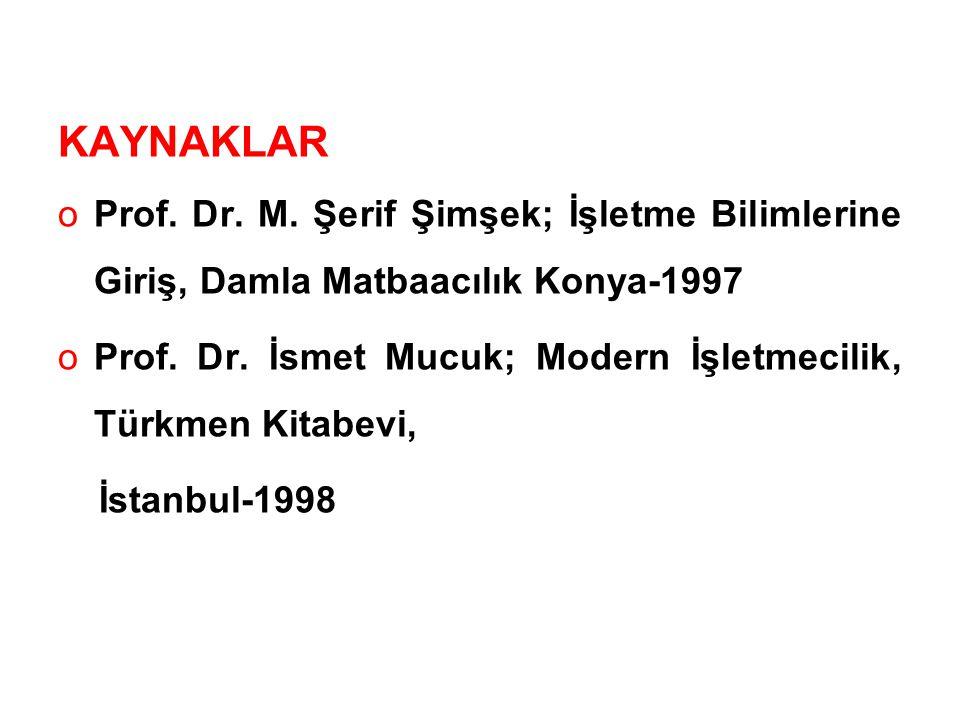 KAYNAKLAR oProf.Dr. M.