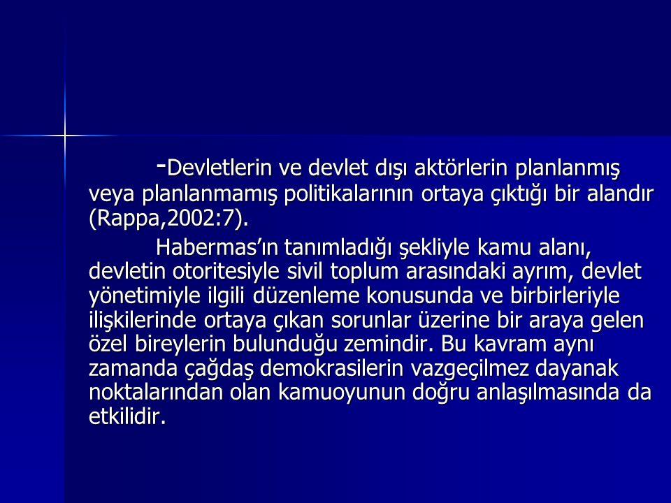- Devletlerin ve devlet dışı aktörlerin planlanmış veya planlanmamış politikalarının ortaya çıktığı bir alandır (Rappa,2002:7). Habermas'ın tanımladığ