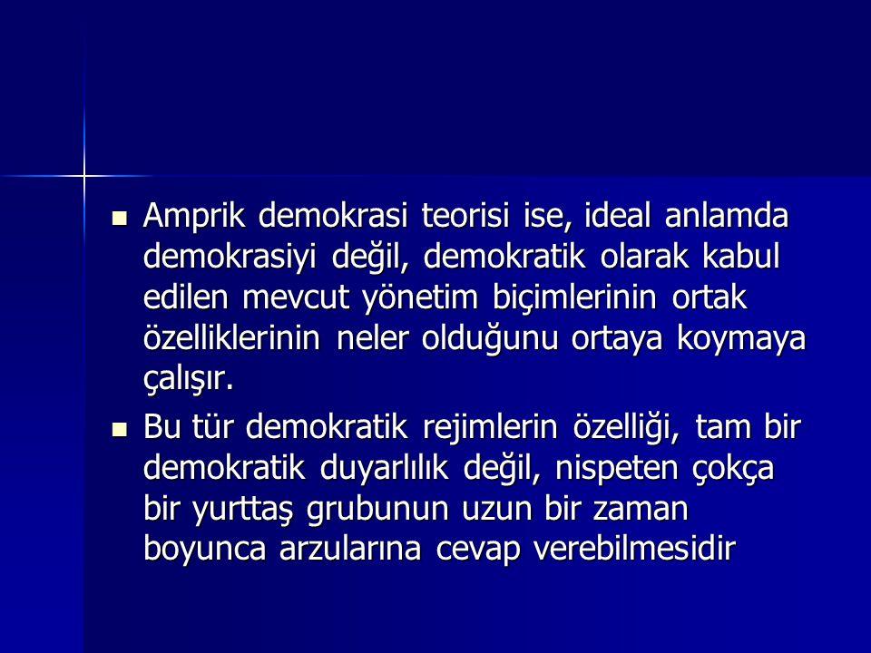  Amprik demokrasi teorisi ise, ideal anlamda demokrasiyi değil, demokratik olarak kabul edilen mevcut yönetim biçimlerinin ortak özelliklerinin neler