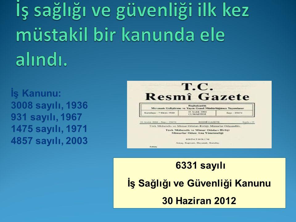 İş Kanunu: 3008 sayılı, 1936 931 sayılı, 1967 1475 sayılı, 1971 4857 sayılı, 2003 30/06/2012: 6331 sayılı ve tarihli İş Sağlığı ve Güvenliği Kanunu 6331 sayılı İş Sağlığı ve Güvenliği Kanunu 30 Haziran 2012