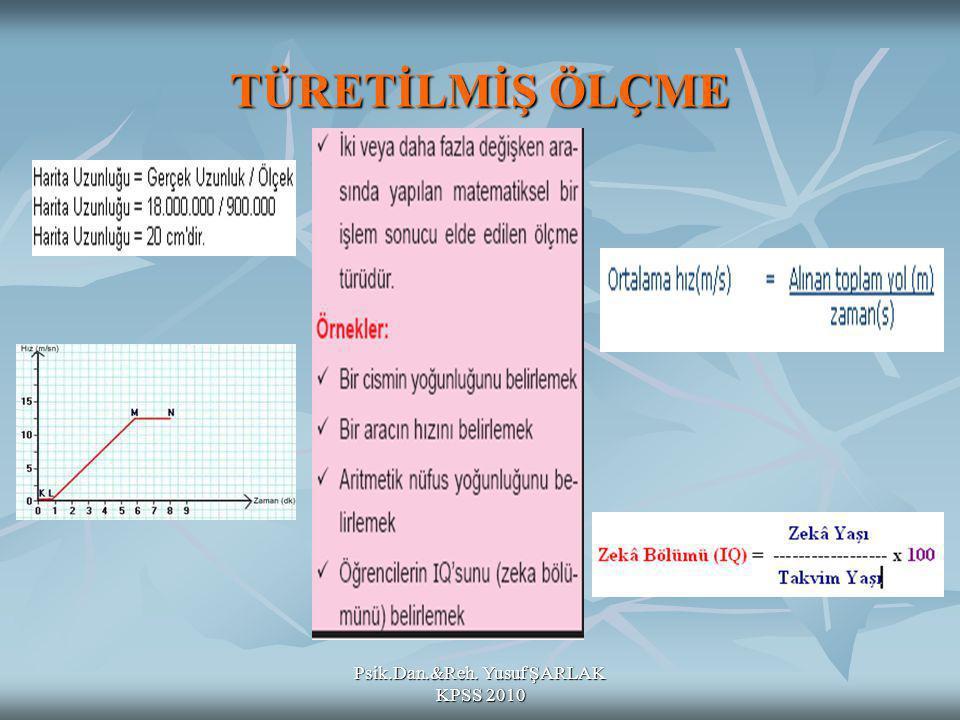 Psik.Dan.&Reh. Yusuf ŞARLAK KPSS 2010 TÜRETİLMİŞ ÖLÇME