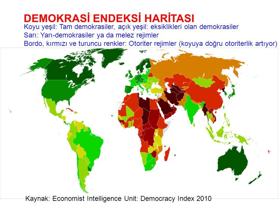 DEMOKRASİ ENDEKSİ HARİTASI Kaynak: Economist Intelligence Unit: Democracy Index 2010 Koyu yeşil: Tam demokrasiler, açık yeşil: eksiklikleri olan demok