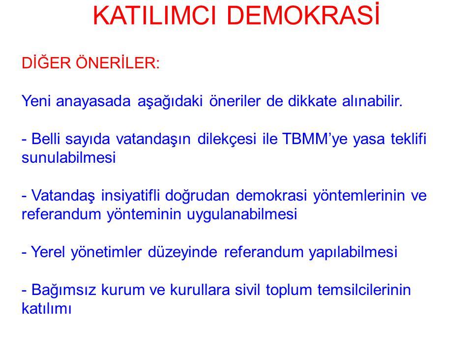 KATILIMCI DEMOKRASİ DİĞER ÖNERİLER: Yeni anayasada aşağıdaki öneriler de dikkate alınabilir. - Belli sayıda vatandaşın dilekçesi ile TBMM'ye yasa tekl