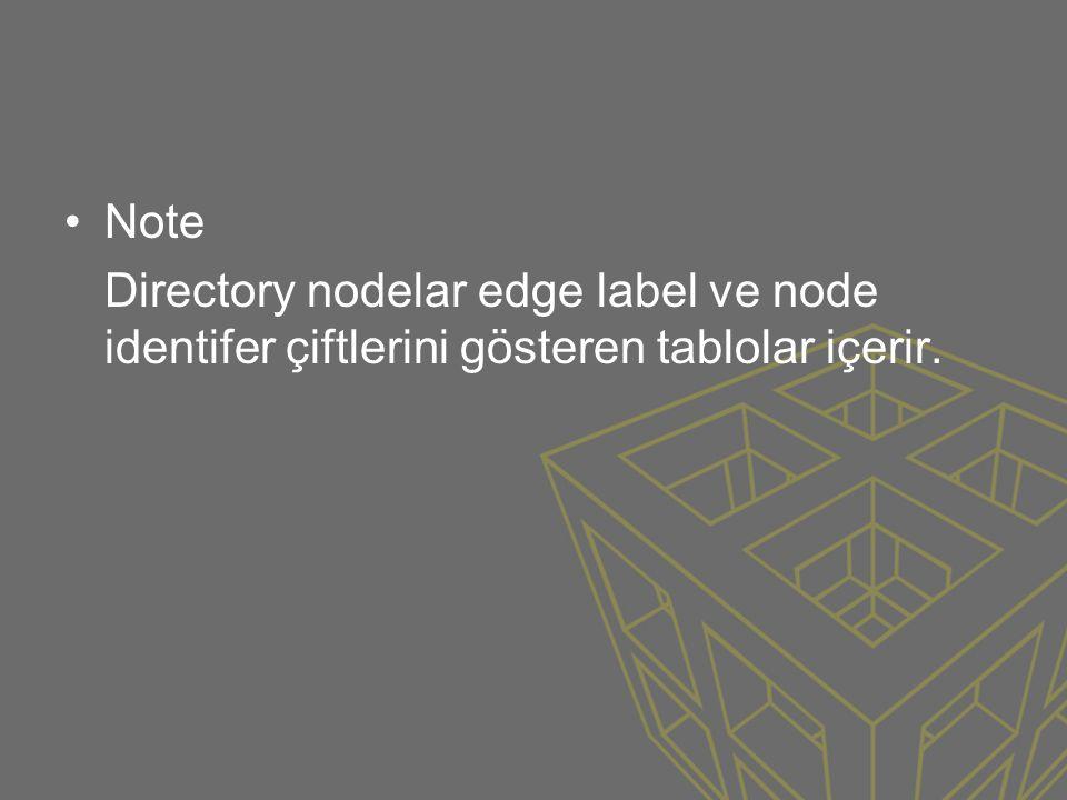•Note Directory nodelar edge label ve node identifer çiftlerini gösteren tablolar içerir.