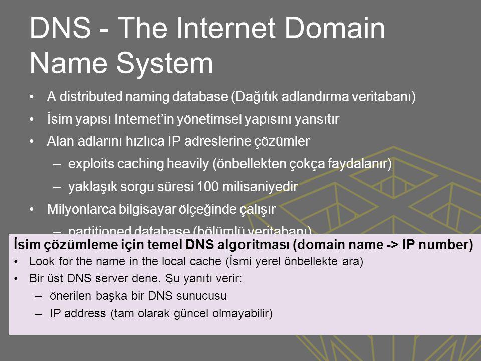 DNS - The Internet Domain Name System •A distributed naming database (Dağıtık adlandırma veritabanı) •İsim yapısı Internet'in yönetimsel yapısını yans