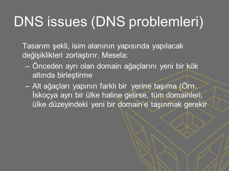DNS issues (DNS problemleri) Tasarım şekli, isim alanının yapısında yapılacak değişiklikleri zorlaştırır. Mesela: –Önceden ayrı olan domain ağaçlarını