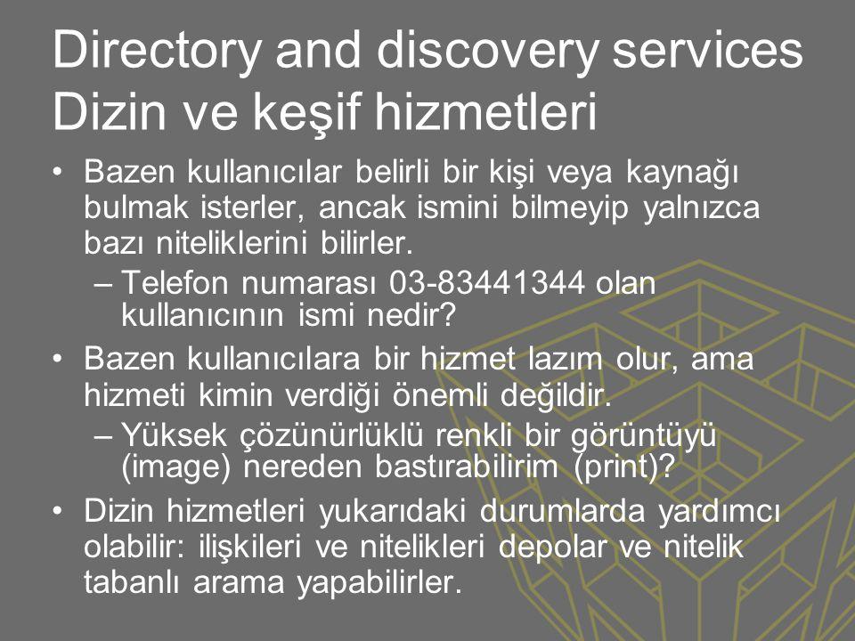 Directory and discovery services Dizin ve keşif hizmetleri •Bazen kullanıcılar belirli bir kişi veya kaynağı bulmak isterler, ancak ismini bilmeyip ya