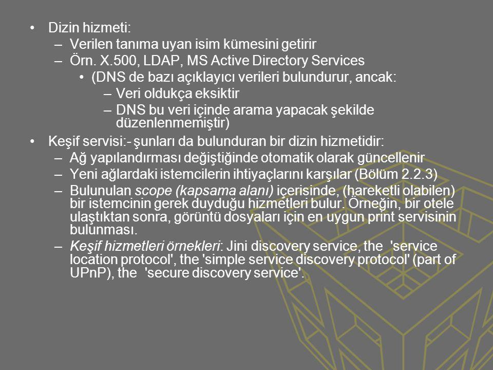 •Dizin hizmeti: –Verilen tanıma uyan isim kümesini getirir –Örn. X.500, LDAP, MS Active Directory Services •(DNS de bazı açıklayıcı verileri bulunduru