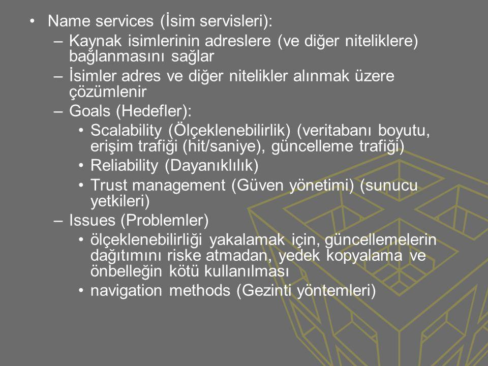 •Name services (İsim servisleri): –Kaynak isimlerinin adreslere (ve diğer niteliklere) bağlanmasını sağlar –İsimler adres ve diğer nitelikler alınmak