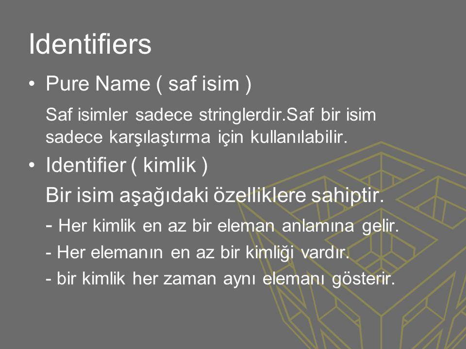 Identifiers •Pure Name ( saf isim ) Saf isimler sadece stringlerdir.Saf bir isim sadece karşılaştırma için kullanılabilir. •Identifier ( kimlik ) Bir is