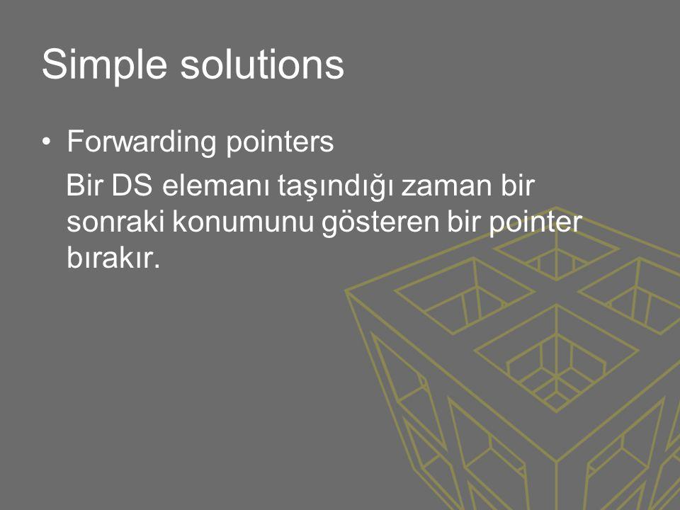 Simple solutions •Forwarding pointers Bir DS elemanı taşındığı zaman bir sonraki konumunu gösteren bir pointer bırakır.