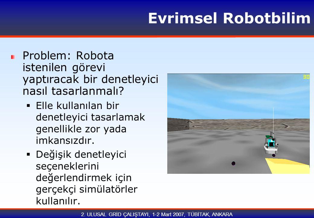 2. ULUSAL GRİD ÇALIŞTAYI, 1-2 Mart 2007, TÜBİTAK, ANKARA Evrimsel Robotbilim Problem: Robota istenilen görevi yaptıracak bir denetleyici nasıl tasarla