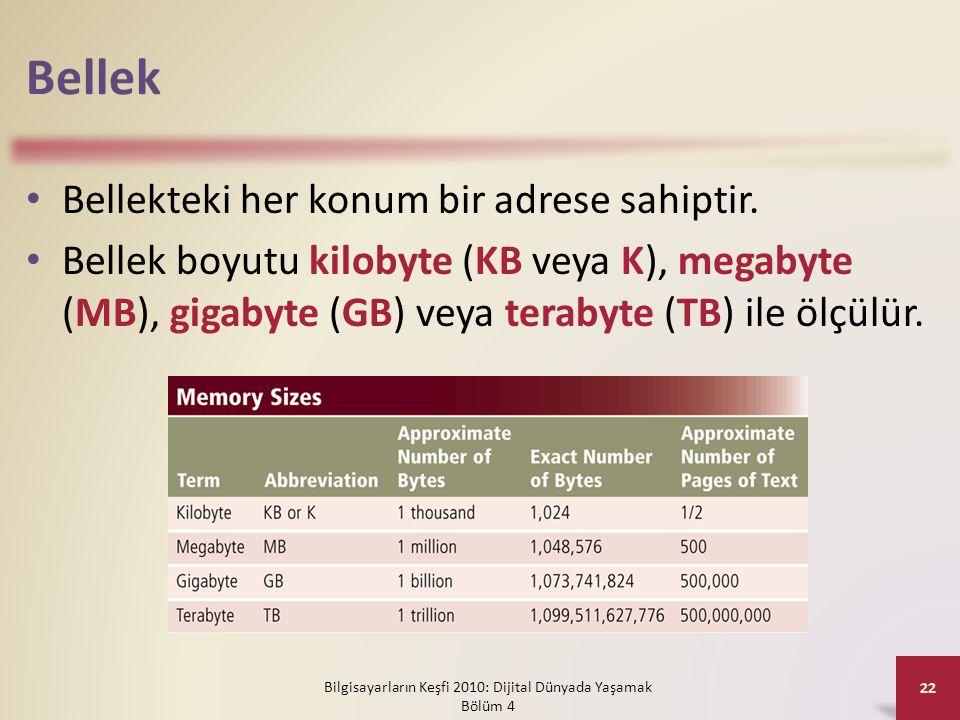 Bellek • Bellekteki her konum bir adrese sahiptir. • Bellek boyutu kilobyte (KB veya K), megabyte (MB), gigabyte (GB) veya terabyte (TB) ile ölçülür.