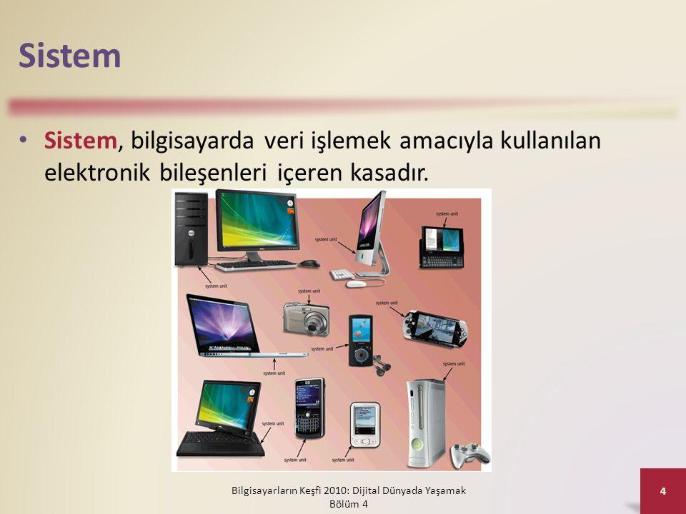 Sistem • Bir masaüstü kişisel bilgisayarda, sistemin içerisinde şunlar bulunur: Bilgisayarların Keşfi 2010: Dijital Dünyada Yaşamak Bölüm 4 5 Sürücü yuvalarıGüç kaynağıSes kartıVideo kartıİşlemciBellek