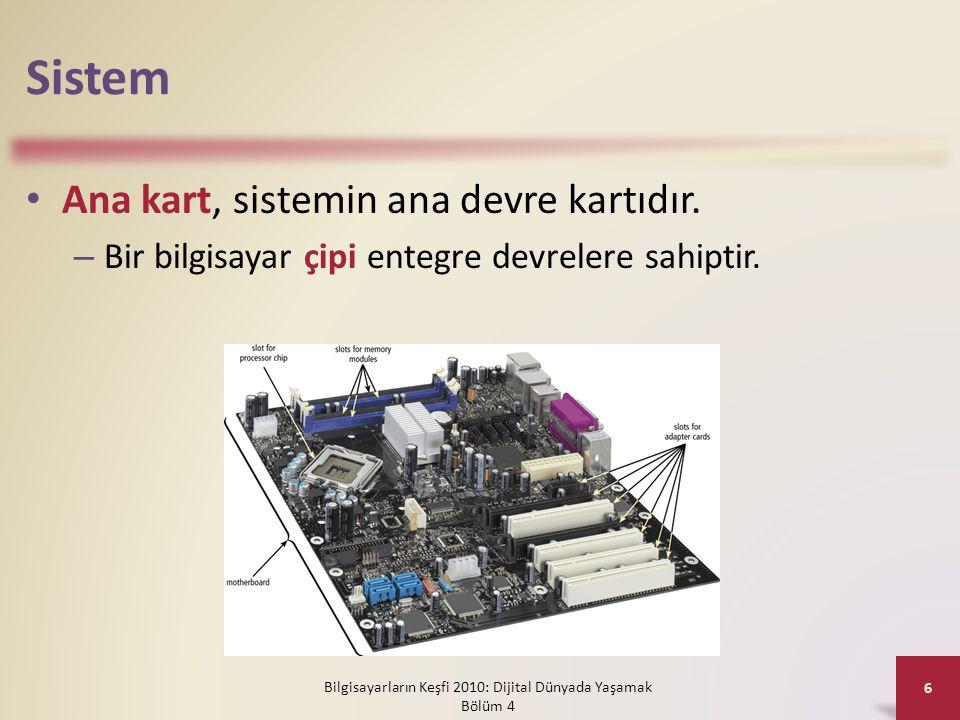 Sistem • Ana kart, sistemin ana devre kartıdır. – Bir bilgisayar çipi entegre devrelere sahiptir. Bilgisayarların Keşfi 2010: Dijital Dünyada Yaşamak