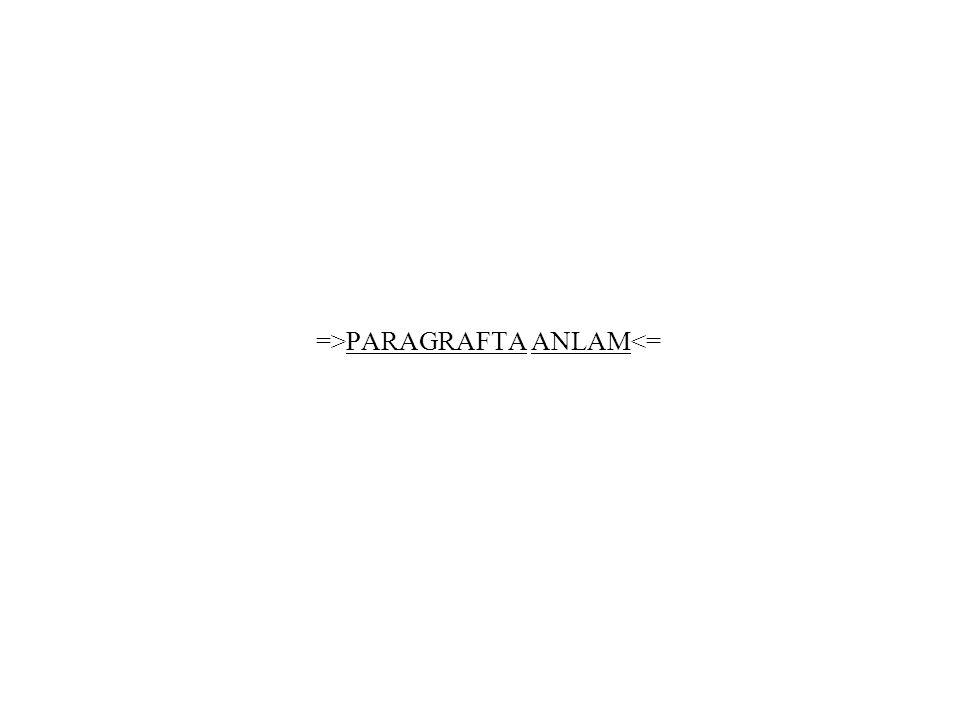 =>PARAGRAFTA ANLAM<=