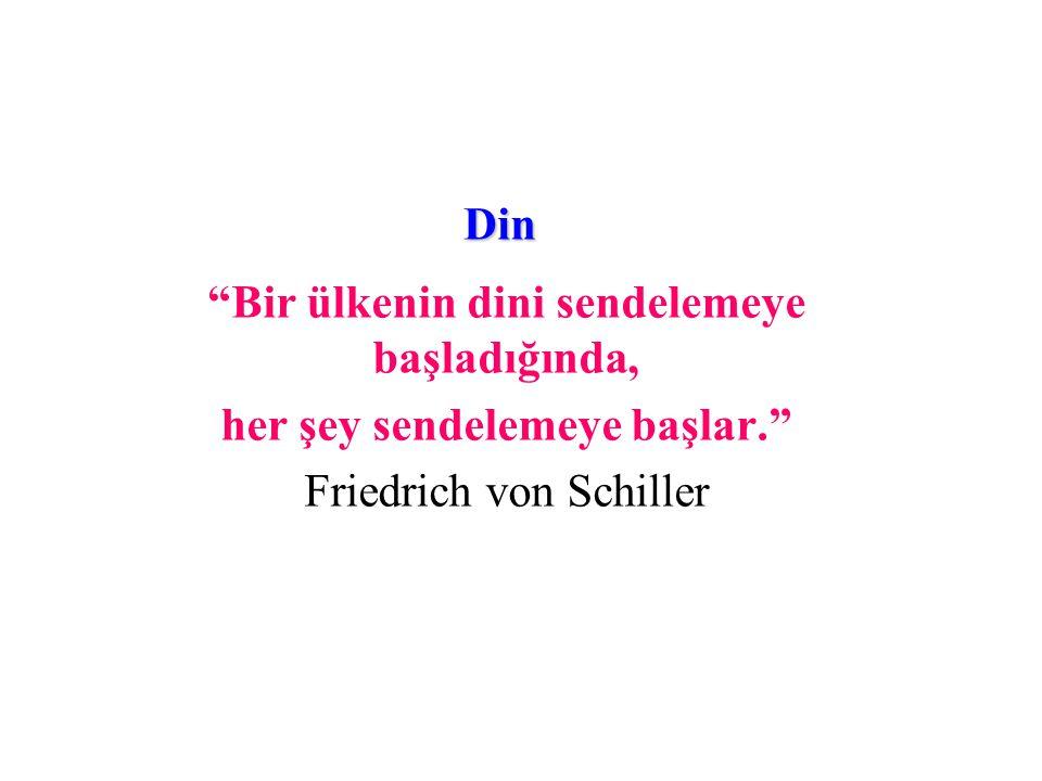 Din Bir ülkenin dini sendelemeye başladığında, her şey sendelemeye başlar. Friedrich von Schiller