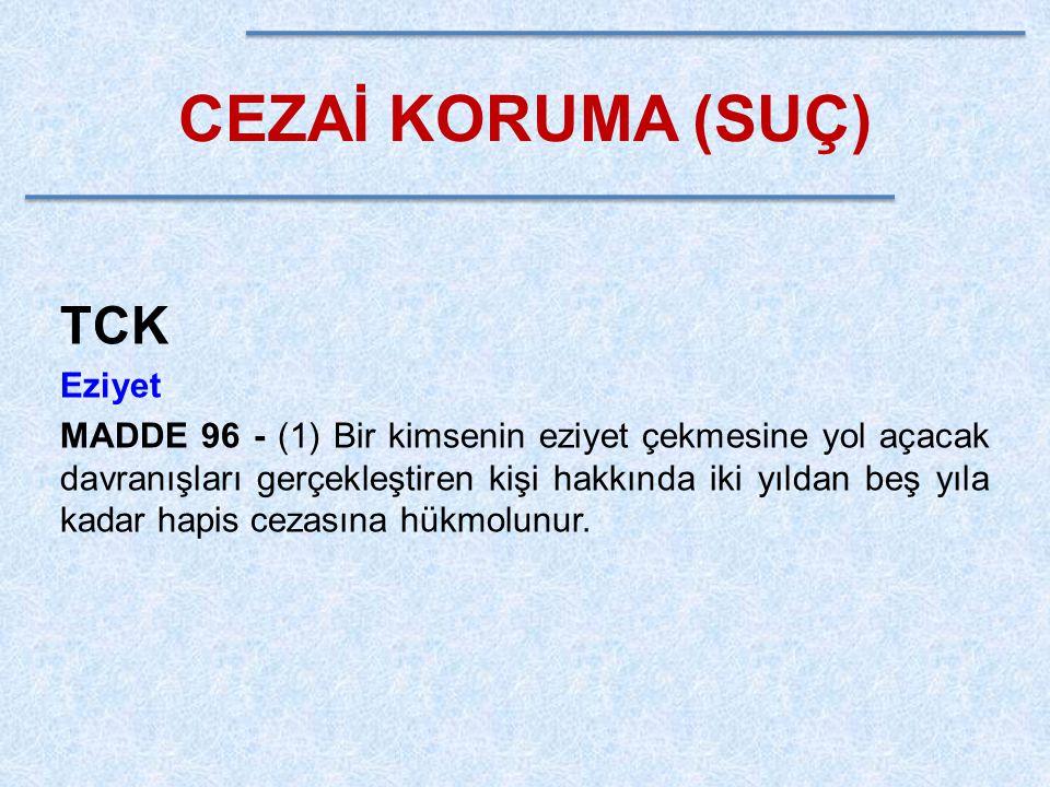 CEZAİ KORUMA (SUÇ) TCK Cinsel Saldırı MADDE 102 - Cinsel davranışlarla bir kimsenin vücut dokunulmazlığını ihlal eden kişi, mağdurun şikayeti üzerine, iki yıldan yedi yıla kadar hapis cezası ile cezalandırılır.
