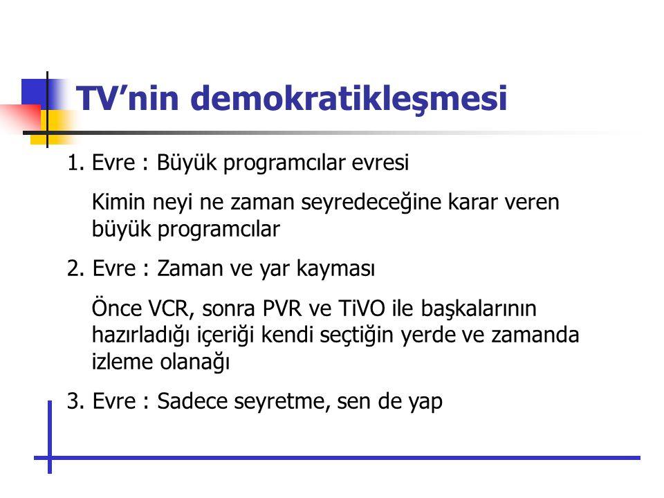 TV'nin demokratikleşmesi 1.Evre : Büyük programcılar evresi Kimin neyi ne zaman seyredeceğine karar veren büyük programcılar 2.