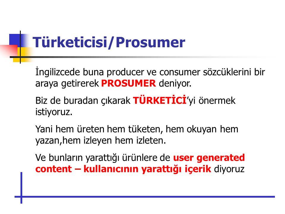 Türketicisi/Prosumer İngilizcede buna producer ve consumer sözcüklerini bir araya getirerek PROSUMER deniyor.
