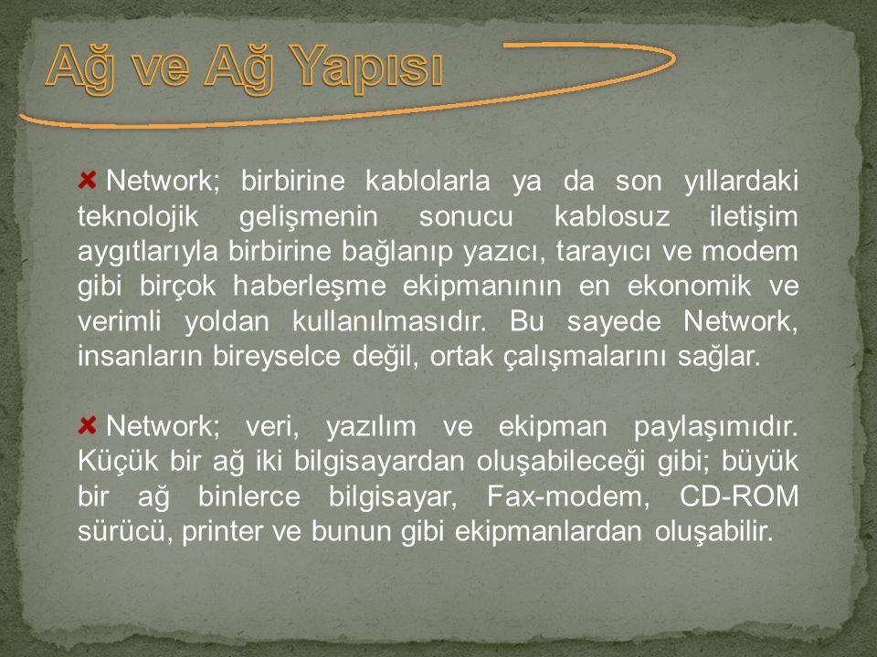 Network; birbirine kablolarla ya da son yıllardaki teknolojik gelişmenin sonucu kablosuz iletişim aygıtlarıyla birbirine bağlanıp yazıcı, tarayıcı ve