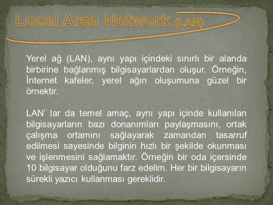 Yerel ağ (LAN), aynı yapı içindeki sınırlı bir alanda birbirine bağlanmış bilgisayarlardan oluşur. Örneğin, İnternet kafeler, yerel ağın oluşumuna güz