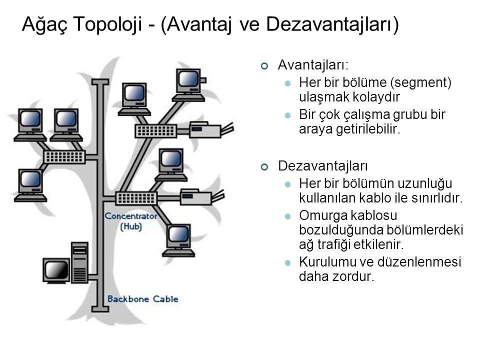 Ağaç Topoloji - (Avantaj ve Dezavantajları) Avantajları:  Her bir bölüme (segment) ulaşmak kolaydır  Bir çok çalışma grubu bir araya getirilebilir.