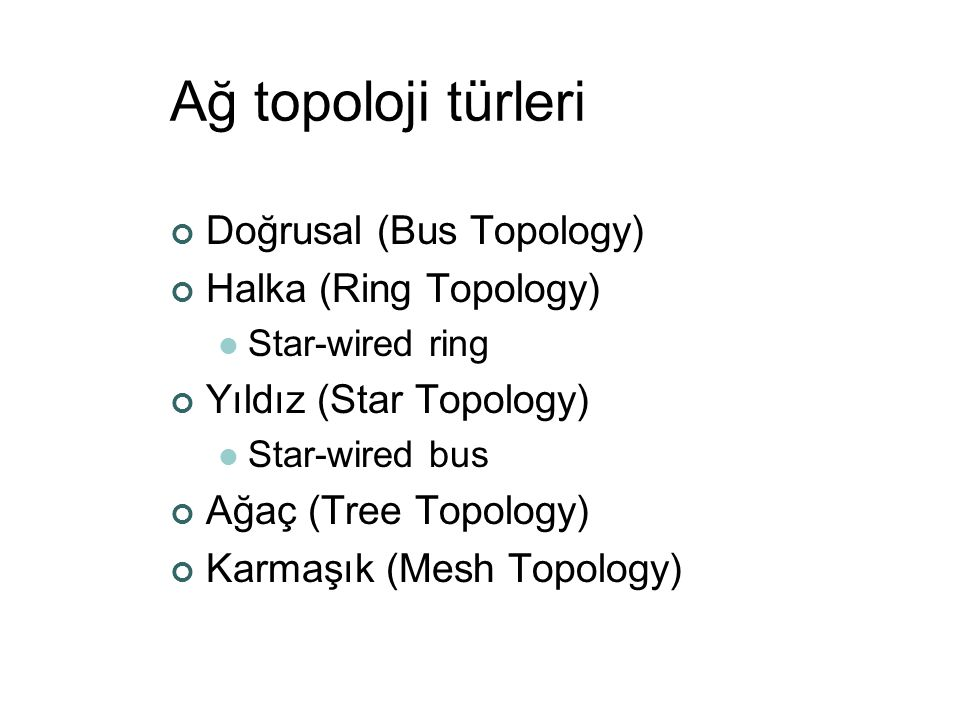 Ağ topoloji türleri Doğrusal (Bus Topology) Halka (Ring Topology)  Star-wired ring Yıldız (Star Topology)  Star-wired bus Ağaç (Tree Topology) Karma